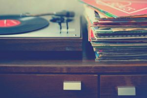 vinyl records and turntable