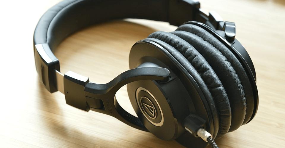 Audio Technica headphones on table