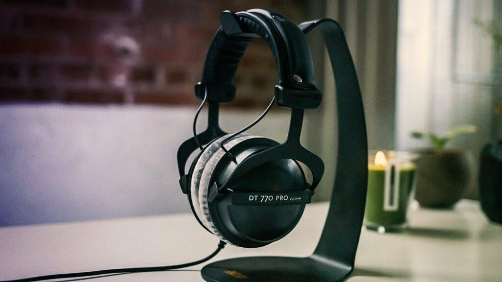 Beyerdynamic DT 770 Pro 250 Ohms on a headphone stand