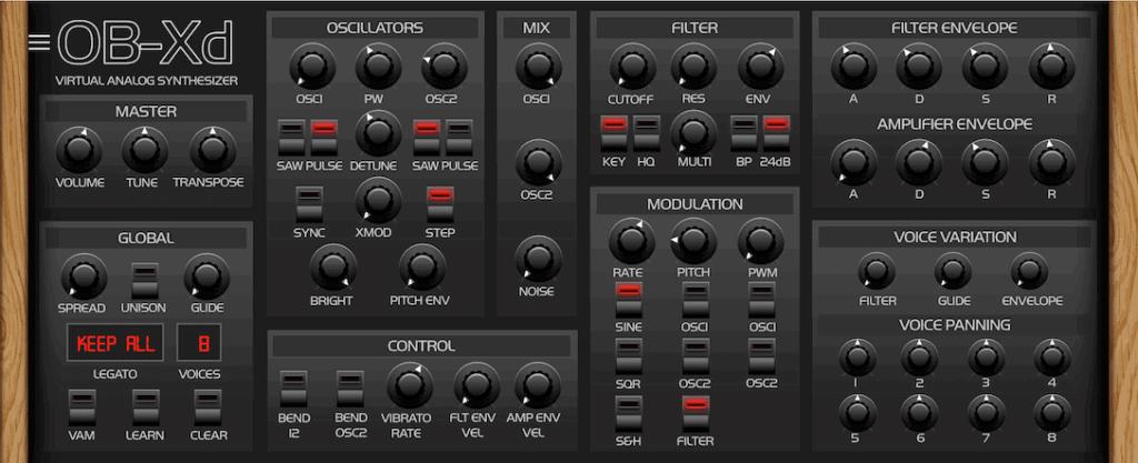 DiscoDSP OB-Xd interface